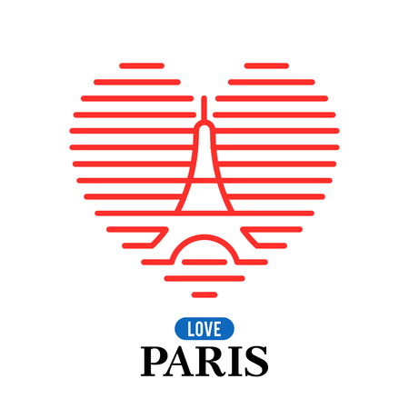 Eiffel Tower logo, national state flag of France. The heart of the lines. Vector Illustration. Concepts Web Banner and Printed Materials. Trendy and Beautiful.