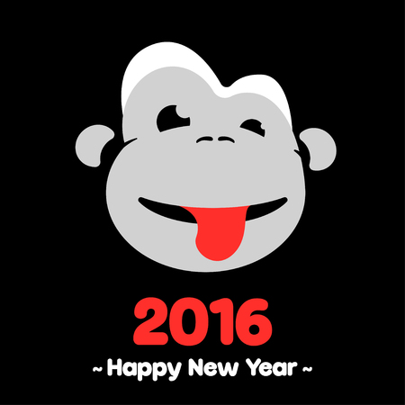monkey face: Design Illustration Concepts Symbol New Year. Monkey. 2016. Concepts Web Banner and Printed Materials. Trendy and Beautiful. Flat Elements Illustration