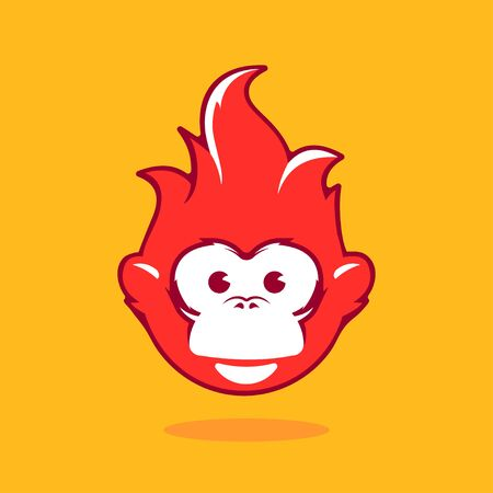 illustration zoo: Design Illustration Concepts Symbol New Year. Monkey. 2016. Concepts Web Banner and Printed Materials. Trendy and Beautiful. Flat Elements Illustration