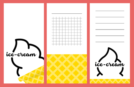 notebook design: Collection of summer ice-cream cards, notes, stickers, labels, tags with cute ornament illustrations. Template for scrapbooking, wrapping, notebooks, notebook, diary, decals, school accessories