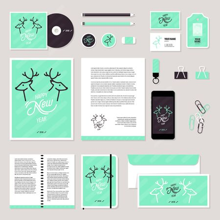 ide: Corporate identity business set design. stationery template design with christmas deer and calligraphy elements. Documentation for business.