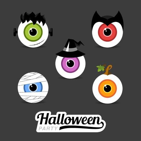 brujas caricatura: Conceptos de diseño de ilustración de Halloween de los ojos. Momia. Calabaza. Bruja. Drácula. Conceptos web y materiales impresos. De moda. Los elementos planos Vectores