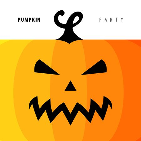 carving: Design Illustration Concepts Symbol Halloween. Pumpkin. Concepts Web Banner and Printed Materials. Trendy and Beautiful. Flat Elements