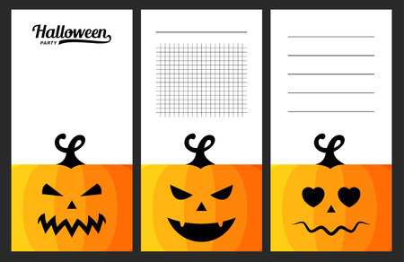 notebook: Collection of halloween cards, notes, stickers, labels, tags with cute ornament illustrations. Template for scrapbooking, wrapping, notebooks, notebook, diary, decals, school accessories