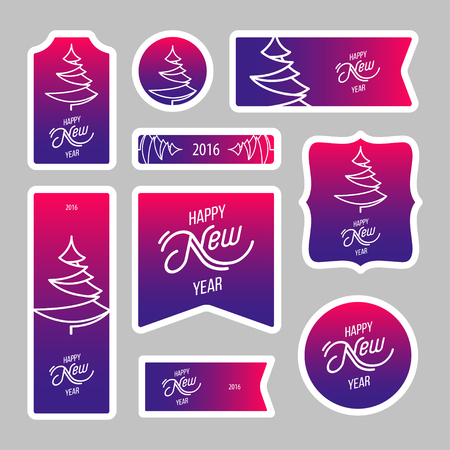postage stamps: Collection of new year 2016 postage stamps with christmas tree, notes, stickers, labels, tags with cute ornament illustrations. Template for scrapbooking, wrapping, notebooks, notebook, diary, decals