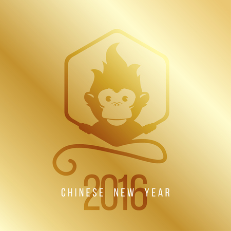 monkey face: Design Illustration Concepts Symbol New Year on Gold Gradient background. Monkey. 2016. Illustration. Illustration