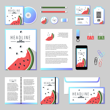 documentation: Corporate identity business set design. Vector stationery template design with ice-cream elements. Documentation for business. Illustration