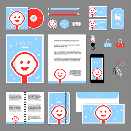 documentation: Corporate identity business set design. Vector stationery template design with candy elements. Documentation for business.