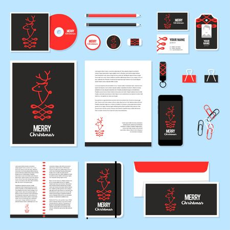 documentation: Corporate identity business set design. Vector stationery template design with christmass deer and calligraphy elements. Documentation for business.