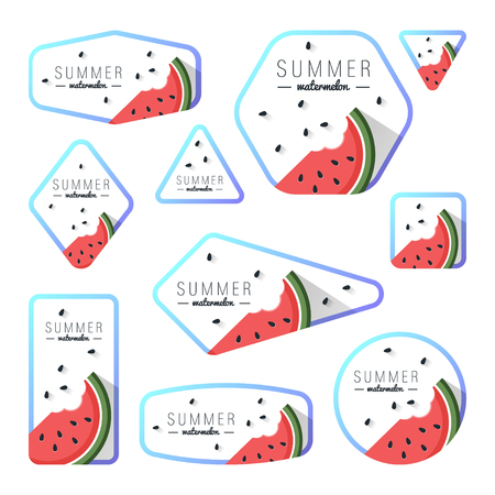 Collection of summer watermelon cards, notes, stickers, labels, tags with cute ornament illustrations. Template for scrapbooking, wrapping, notebooks, notebook, diary, decals, school accessories
