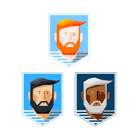 young style: Design Illustration Concepts Man with Beard. Vector Illustration. Concepts Web Banner and Printed Materials. Trendy and Beautiful. Flat Elements