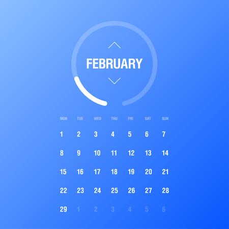 week: Calendar 2016. February. Week Starts Monday. Gradient background