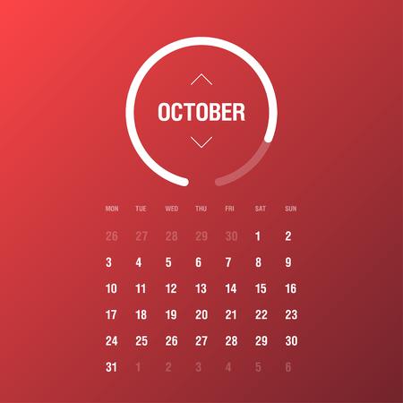 week: Calendar 2016. October. Week Starts Monday. Gradient background