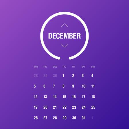 week: Calendar 2016. December. Week Starts Monday. Gradient background