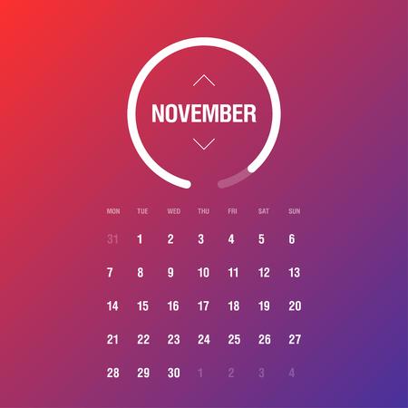week: Calendar 2016. November. Week Starts Monday. Gradient background