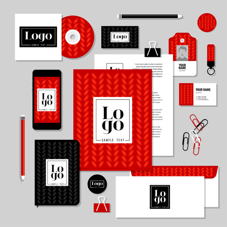 stationery: Corporate identity business set design. Vector stationery template design with sample logo and text elements. Documentation for business.