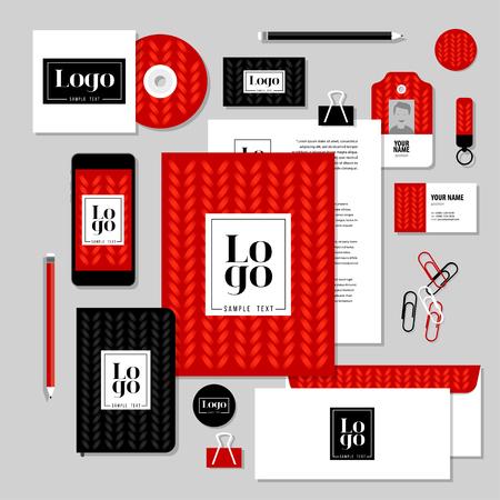 papeleria: negocio identidad corporativa dise�o establecido. Dise�o del modelo de los efectos de escritorio del vector con los elementos del logotipo de la muestra y de texto. Documentaci�n para los negocios. Vectores