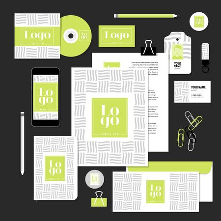 editable: Corporate identity business set design. Vector stationery template design with sample logo and text elements. Documentation for business.