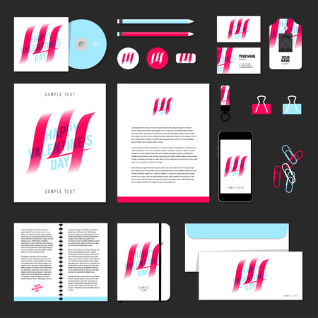 documentation: Corporate identity business set design. Vector stationery template design with valentines day elements, love, 14 february. Documentation for business.