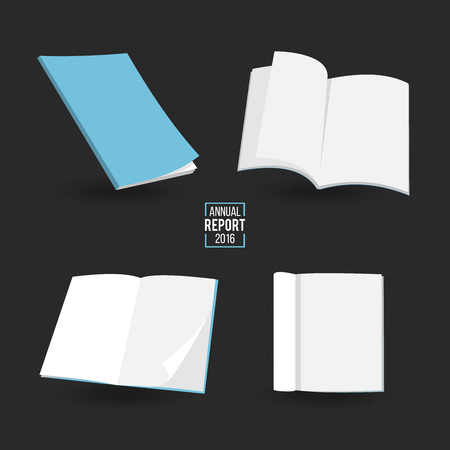 blanks: Blanks magazines template on color background with soft shadows. Ready for your design. Vector illustration.