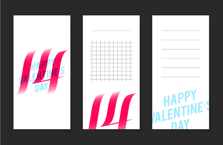 office romance: Collection of valentines day cards, 14 february, notes, stickers, labels, tags with cute ornament illustrations. Template for scrapbooking, wrapping, notebooks Illustration