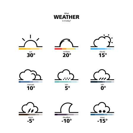 estado del tiempo: Ilustración de diseño Widget El tiempo y los iconos con la tipografía de estilo y otros elementos. Ilustración del vector. Conceptos Web Banner y Impreso. De moda y hermoso. Vectores