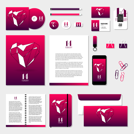 editable sign: Corporate identity business set design. Vector stationery template design with valentines day elements, love, 14 february. Documentation for business.