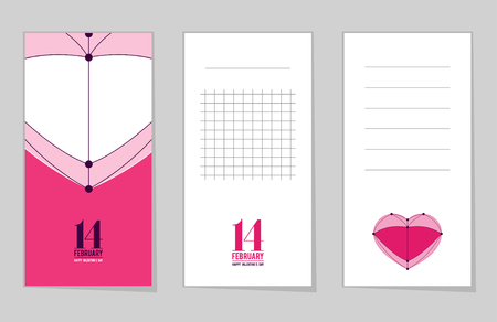 Collection of valentine's day cards, 14 february, love heart, notes, stickers, labels, tags with cute ornament illustrations. Template for scrapbooking, wrapping, notebooks