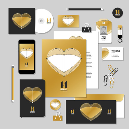 14 of february: Corporate identity business set design. Vector stationery template design with valentines day elements, love, 14 february. Documentation for business.