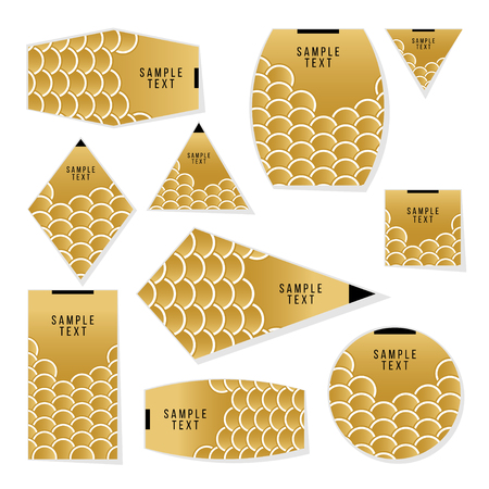 scale icon: Collection of Gold Fish Or Snake Scales cards, notes, stickers, labels, tags. Template for scrapbooking, wrapping, notebooks