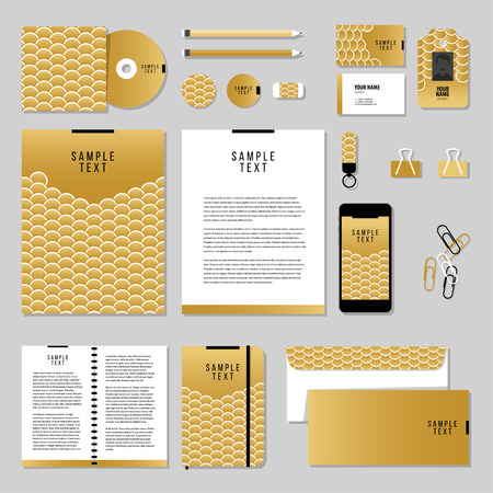 ide: Corporate identity business set design. Vector stationery template design with Gold Fish Or Snake Scales. Documentation for business.