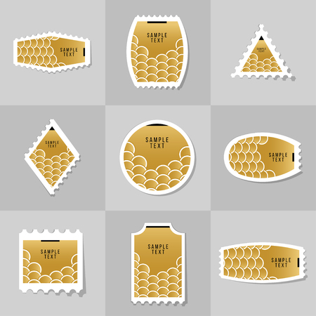 scale icon: Collection of Gold Fish Or Snake Scales postage stamp, cards, notes, stickers, labels, tags. Template for scrapbooking, wrapping, notebooks