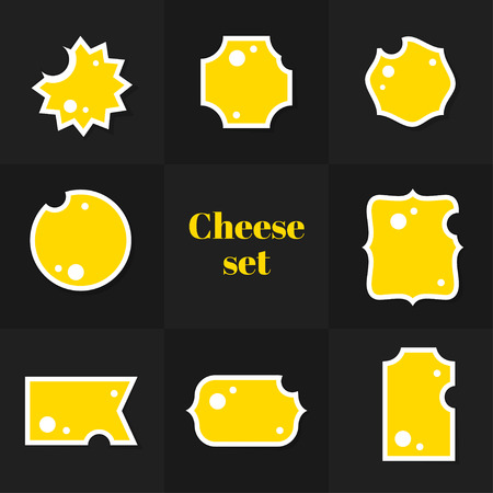 edam: Collection of Triangular piece cheese cards, notes, stickers, labels, tags. Template for scrapbooking, wrapping, notebooks