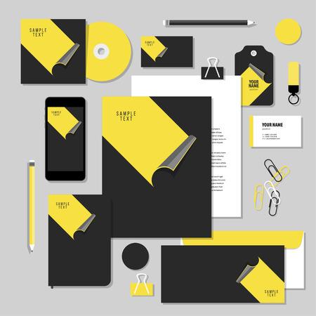 negocio identidad corporativa diseño establecido. diseño de papelería plantilla vector con pegatinas. Documentación para los negocios.