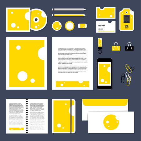 template: Corporate identity business set design. Vector stationery template design with Triangular piece cheese. Documentation for business.