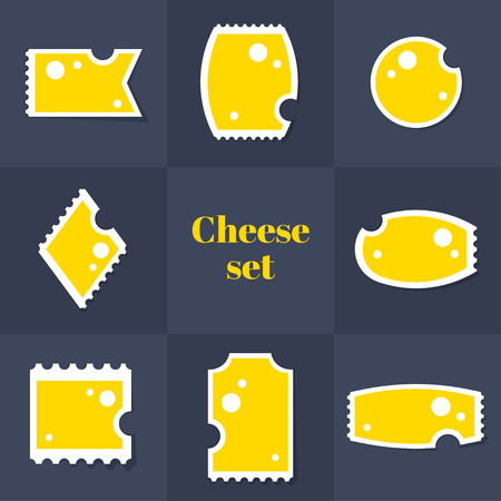 edam: Collection of Triangular piece cheese postage stamp, cards, notes, stickers, labels, tags. Template for scrapbooking, wrapping, notebooks Illustration
