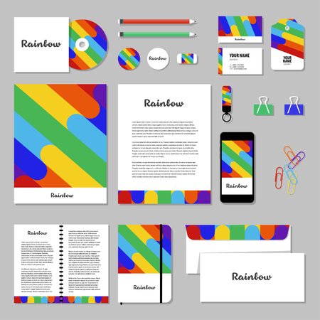 editable sign: Corporate identity business set design. Vector stationery template design with Rainbow. Documentation for business.