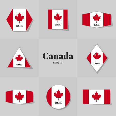 canadian flag: Collection Canadian Flag cards, notes, stickers, labels, tags. Template for scrapbooking, wrapping, notebooks