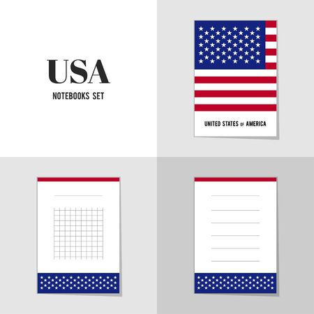 national landmark: Collection American Flag notebooks, stickers, labels, tags. Template for scrapbooking, wrapping, notebooks