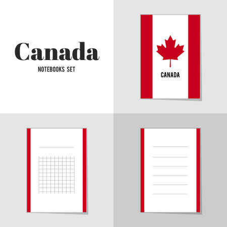 canadian flag: Collection Canadian Flag notebooks, stickers, labels, tags. Template for scrapbooking, wrapping, notebooks
