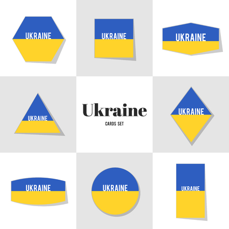 ukrainian flag: Collection Ukrainian Flag cards, notes, stickers, labels, tags. Template for scrapbooking, wrapping, notebooks Illustration