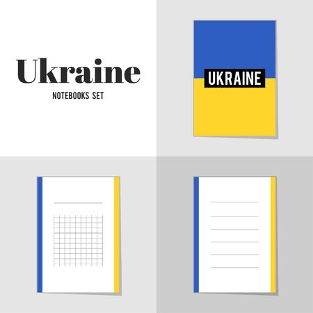 ukrainian flag: Collection Ukrainian Flag notebooks, stickers, labels, tags. Template for scrapbooking, wrapping, notebooks