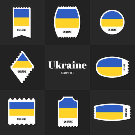 ukrainian flag: Collection Ukrainian Flag postage stamp, cards, notes, stickers, labels, tags. Template for scrapbooking, wrapping, notebooks Illustration