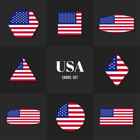 national landmark: Collection American Flag cards, notes, stickers, labels, tags. Template for scrapbooking, wrapping, notebooks
