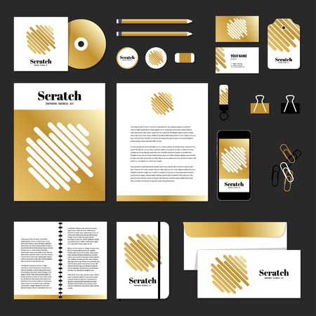 documentation: Corporate identity business set design. Vector stationery template design with scrath line. Documentation for business. Illustration