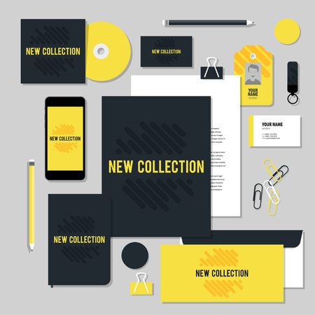 documentation: Corporate identity business set design. Vector stationery template design with diagonal line. Documentation for business.
