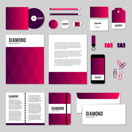 documentation: Corporate identity business set design. Vector stationery template design with Rhombus and square shape. Documentation for business.