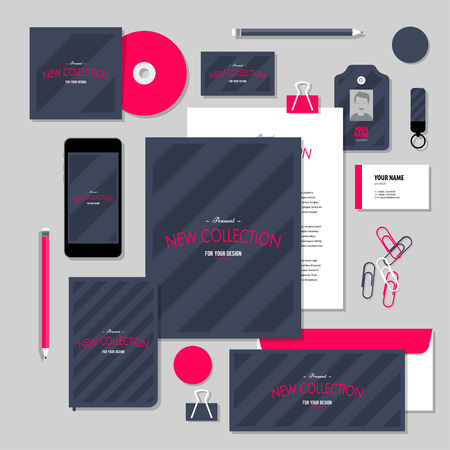 diagonal diary education: Corporate identity business set design. Vector stationery template design with diagonal lines. Documentation for business.