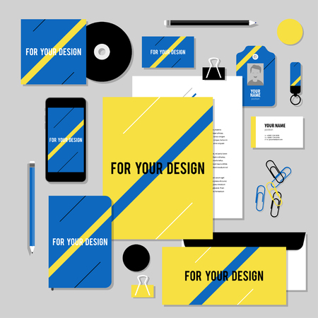 diagonal diary education: Corporate identity business set design. Vector stationery template design with diagonal line. Documentation for business.