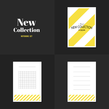 diagonal lines: Collection Diagonal lines notebooks, stickers, labels, tags. Template for scrapbooking, wrapping, notebooks